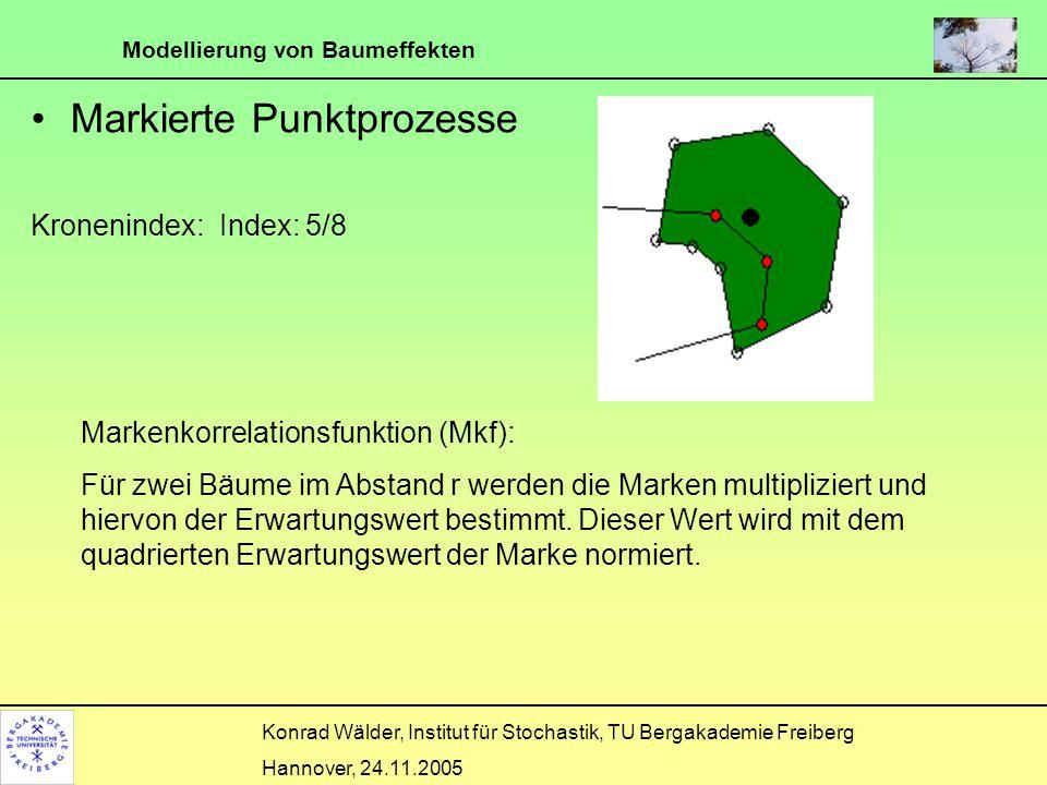 Modellierung von Baumeffekten Konrad Wälder, Institut für Stochastik, TU Bergakademie Freiberg Hannover, 24.11.2005 Markierte Punktprozesse Kroneninde