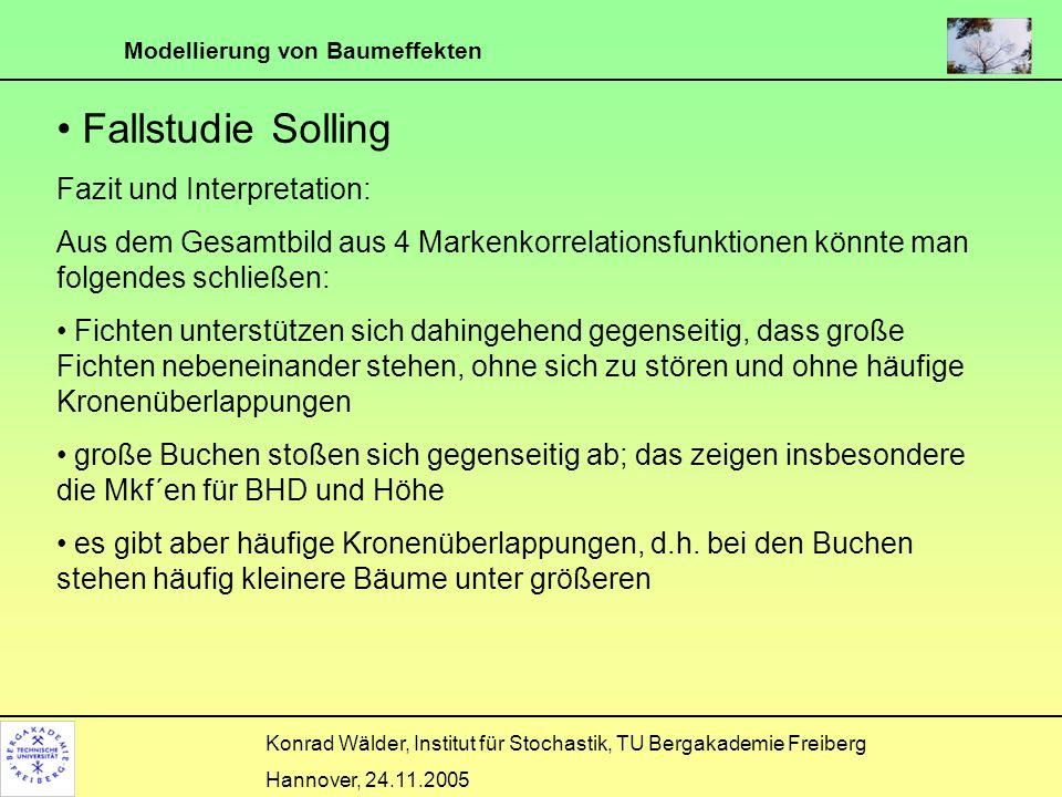 Modellierung von Baumeffekten Konrad Wälder, Institut für Stochastik, TU Bergakademie Freiberg Hannover, 24.11.2005 Fallstudie Solling Fazit und Inter