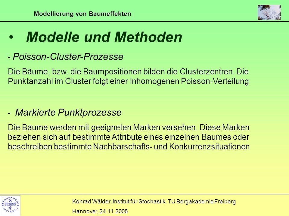 Modellierung von Baumeffekten Konrad Wälder, Institut für Stochastik, TU Bergakademie Freiberg Hannover, 24.11.2005 Poisson Cluster Punkt Prozess (1) Die Punkte (Früchte) eines Clusters (Baumes) bilden einen inhomogenen Poisson-Prozess mit Intensitätsfunktion für einen Punkt (x,y) im Abstand r vom Baum.