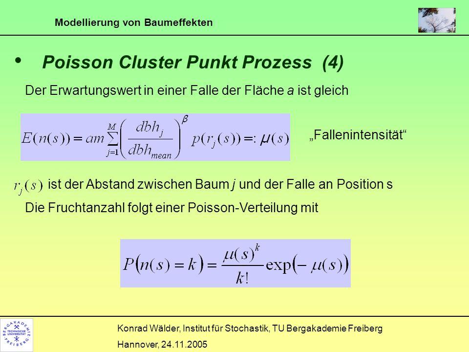 Modellierung von Baumeffekten Konrad Wälder, Institut für Stochastik, TU Bergakademie Freiberg Hannover, 24.11.2005 Verteilungsannahmen p muss eine Dichtefunktion sein.