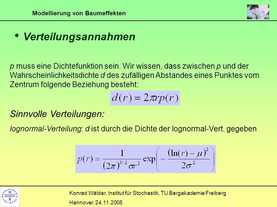 Modellierung von Baumeffekten Konrad Wälder, Institut für Stochastik, TU Bergakademie Freiberg Hannover, 24.11.2005 Markierte Punktprozesse Die Punkte sind die Bäume bzw.