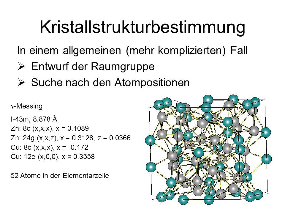 10 Kristallstrukturbestimmung In einem allgemeinen (mehr komplizierten) Fall Entwurf der Raumgruppe Suche nach den Atompositionen -Messing I-43m, 8.87