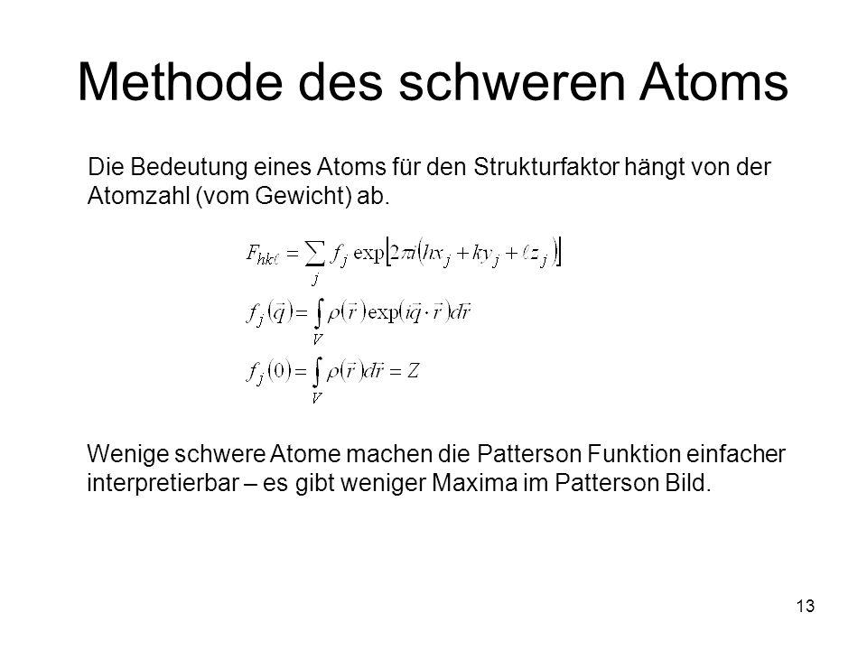 13 Methode des schweren Atoms Die Bedeutung eines Atoms für den Strukturfaktor hängt von der Atomzahl (vom Gewicht) ab. Wenige schwere Atome machen di