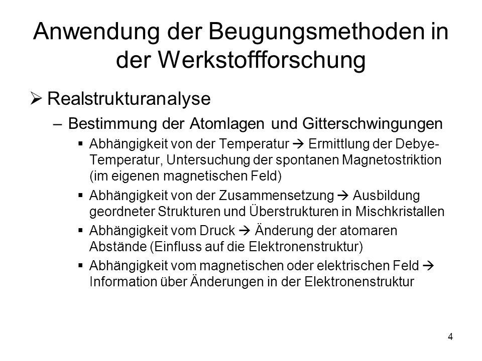 4 Anwendung der Beugungsmethoden in der Werkstoffforschung Realstrukturanalyse –Bestimmung der Atomlagen und Gitterschwingungen Abhängigkeit von der T
