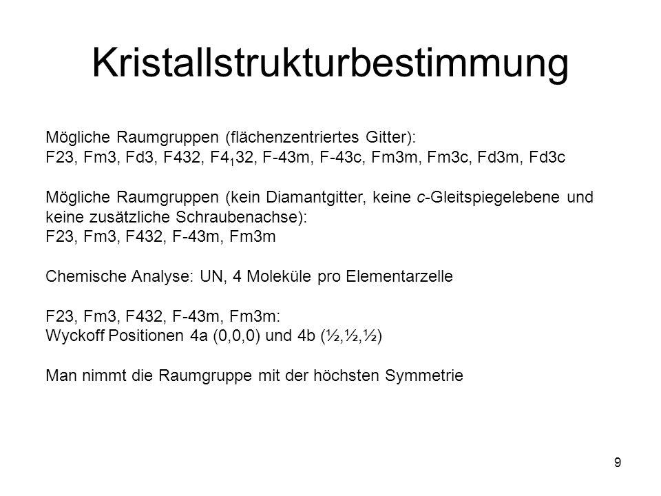 9 Kristallstrukturbestimmung Mögliche Raumgruppen (flächenzentriertes Gitter): F23, Fm3, Fd3, F432, F4 1 32, F-43m, F-43c, Fm3m, Fm3c, Fd3m, Fd3c Mögl