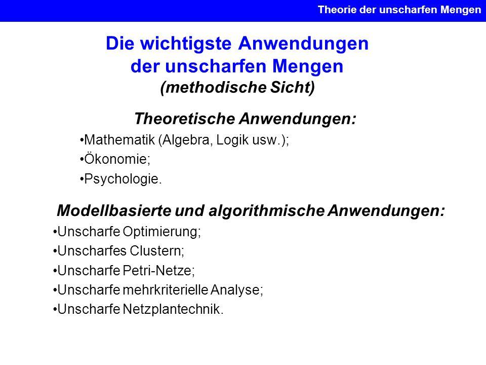 Die wichtigste Anwendungen der unscharfen Mengen (methodische Sicht) Theoretische Anwendungen: Mathematik (Algebra, Logik usw.); Ökonomie; Psychologie