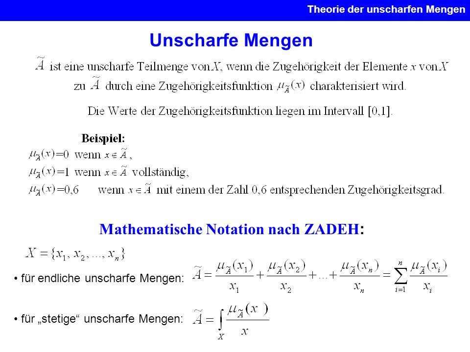 Unscharfe Mengen Theorie der unscharfen Mengen Mathematische Notation nach ZADEH : für endliche unscharfe Mengen: für stetige unscharfe Mengen:
