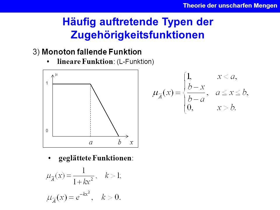 Theorie der unscharfen Mengen 3) Monoton fallende Funktion lineare Funktion: (L-Funktion) geglättete Funktionen: Häufig auftretende Typen der Zugehöri