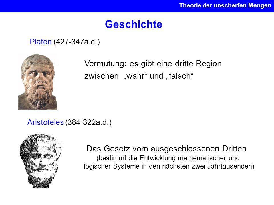 Geschichte Platon (427-347a.d.) Vermutung: es gibt eine dritte Region zwischen wahr und falsch Aristoteles (384-322a.d.) Das Gesetz vom ausgeschlossen