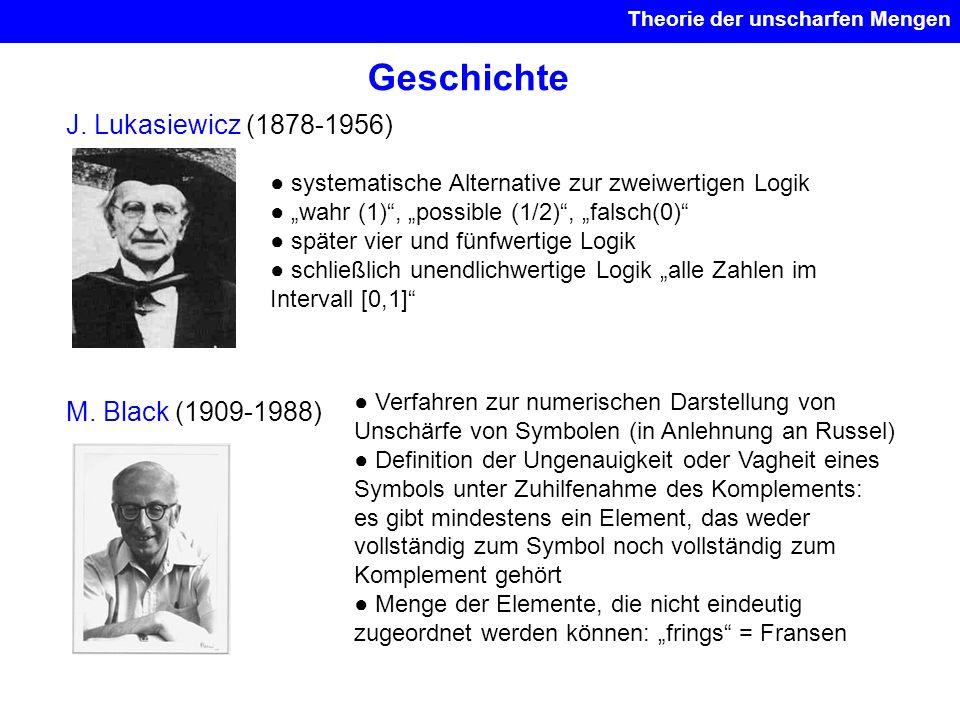 Geschichte J. Lukasiewicz (1878-1956) systematische Alternative zur zweiwertigen Logik wahr (1), possible (1/2), falsch(0) später vier und fünfwertige