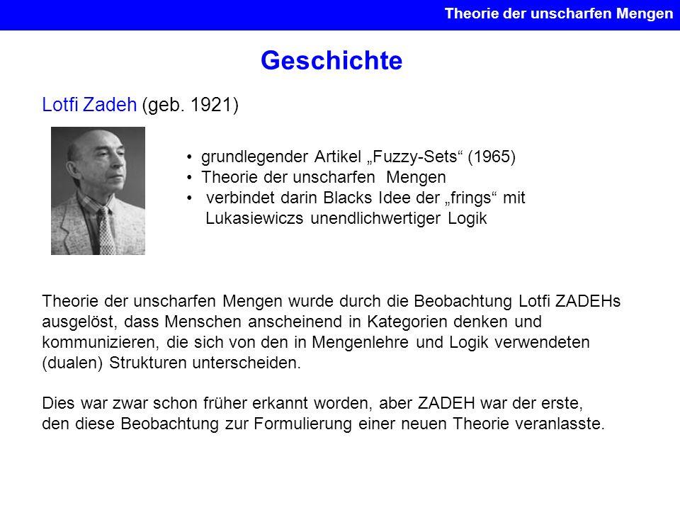 Geschichte Lotfi Zadeh (geb. 1921) grundlegender Artikel Fuzzy-Sets (1965) Theorie der unscharfen Mengen verbindet darin Blacks Idee der frings mit Lu