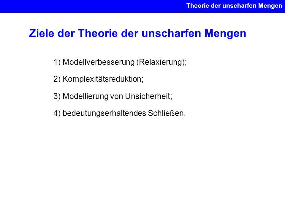 Ziele der Theorie der unscharfen Mengen 1) Modellverbesserung (Relaxierung); 2) Komplexitätsreduktion; 3) Modellierung von Unsicherheit; 4) bedeutungs