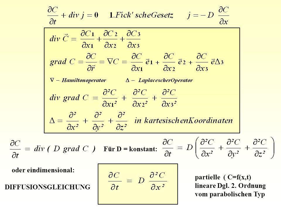 Für D = konstant: oder eindimensional: DIFFUSIONSGLEICHUNG partielle ( C=f(x,t) lineare Dgl. 2. Ordnung vom parabolischen Typ
