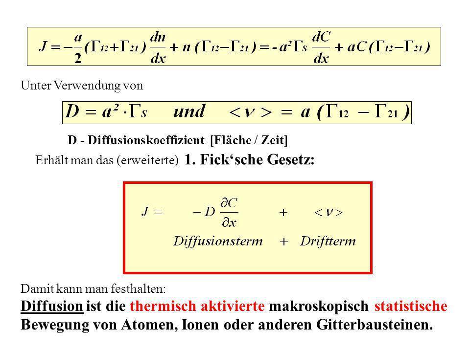 Unter Verwendung von D - Diffusionskoeffizient [Fläche / Zeit] Erhält man das (erweiterte) 1. Ficksche Gesetz: Damit kann man festhalten: Diffusion is