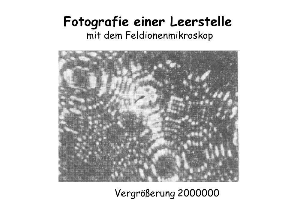 Fotografie einer Leerstelle mit dem Feldionenmikroskop Vergrößerung 2000000