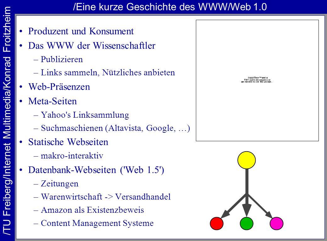 /TU Freiberg/Internet Multimedia/Konrad Froitzheim /Eine kurze Geschichte des WWW/Web 1.0 Produzent und Konsument Das WWW der Wissenschaftler –Publizi