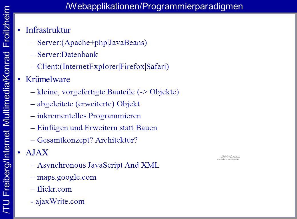 /TU Freiberg/Internet Multimedia/Konrad Froitzheim /Webapplikationen/Programmierparadigmen Infrastruktur –Server:(Apache+php|JavaBeans) –Server:Datenb