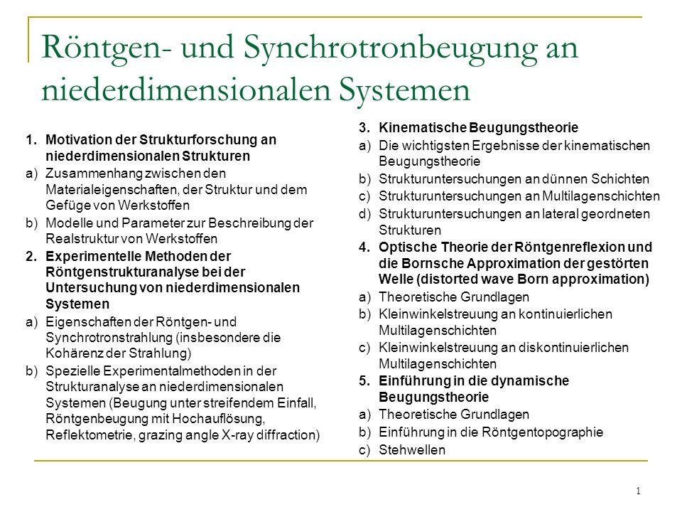 1 Röntgen- und Synchrotronbeugung an niederdimensionalen Systemen 1.Motivation der Strukturforschung an niederdimensionalen Strukturen a)Zusammenhang