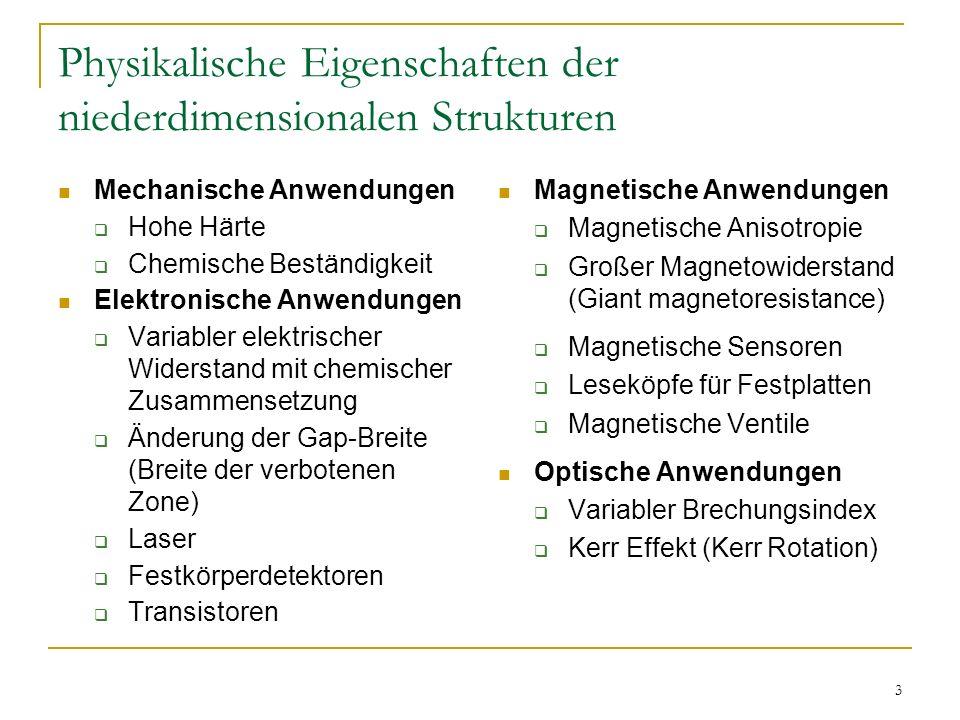 3 Physikalische Eigenschaften der niederdimensionalen Strukturen Magnetische Anwendungen Magnetische Anisotropie Großer Magnetowiderstand (Giant magne