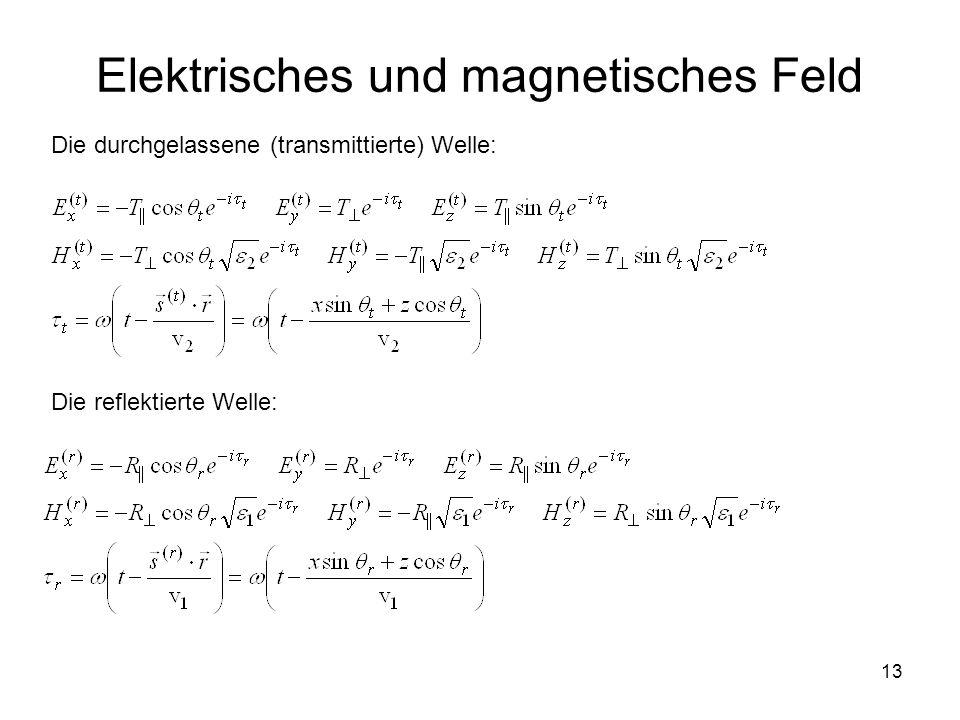 13 Elektrisches und magnetisches Feld Die durchgelassene (transmittierte) Welle: Die reflektierte Welle: