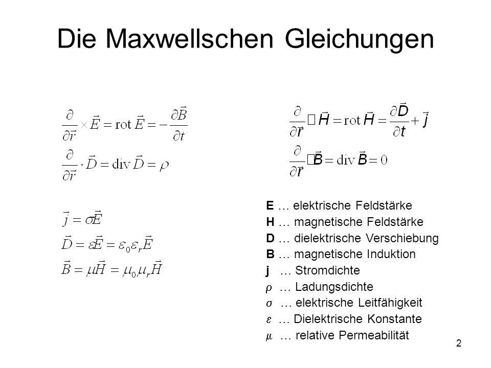 2 Die Maxwellschen Gleichungen E … elektrische Feldstärke H … magnetische Feldstärke D … dielektrische Verschiebung B … magnetische Induktion j … Stro