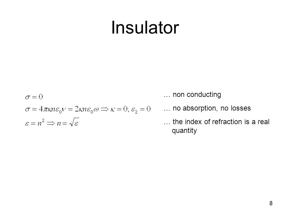Insulator 8 … non conducting … no absorption, no losses … the index of refraction is a real quantity