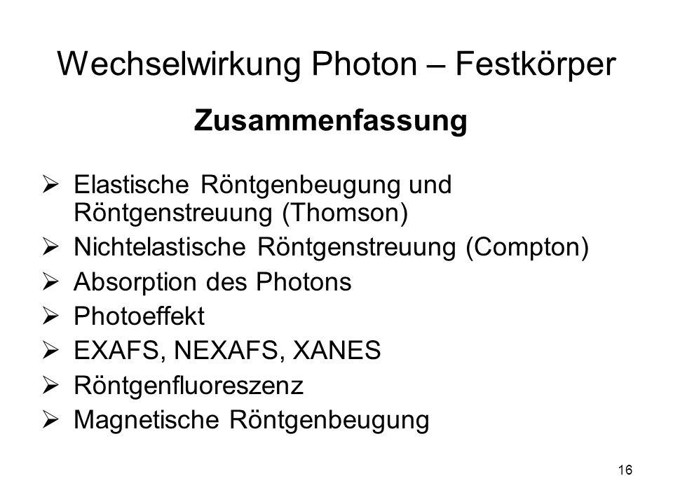 16 Wechselwirkung Photon – Festkörper Elastische Röntgenbeugung und Röntgenstreuung (Thomson) Nichtelastische Röntgenstreuung (Compton) Absorption des