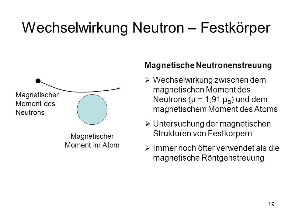 19 Wechselwirkung Neutron – Festkörper Magnetischer Moment des Neutrons Magnetischer Moment im Atom Magnetische Neutronenstreuung Wechselwirkung zwisc