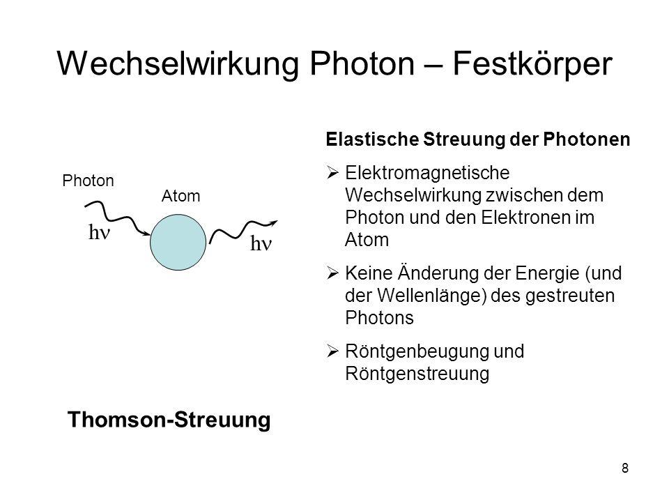 8 Wechselwirkung Photon – Festkörper Elastische Streuung der Photonen Elektromagnetische Wechselwirkung zwischen dem Photon und den Elektronen im Atom Keine Änderung der Energie (und der Wellenlänge) des gestreuten Photons Röntgenbeugung und Röntgenstreuung Thomson-Streuung Photon Atom h h