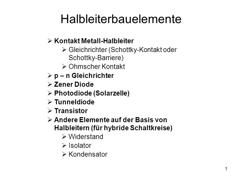1 Halbleiterbauelemente Kontakt Metall-Halbleiter Gleichrichter (Schottky-Kontakt oder Schottky-Barriere) Ohmscher Kontakt p – n Gleichrichter Zener D