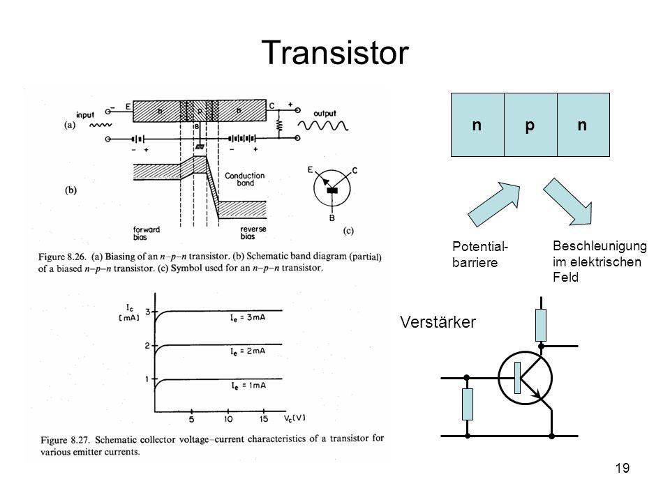19 Transistor npn Potential- barriere Beschleunigung im elektrischen Feld Verstärker