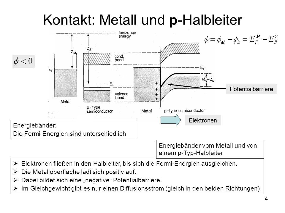 4 Kontakt: Metall und p-Halbleiter Energiebänder vom Metall und von einem p-Typ-Halbleiter Potentialbarriere Energiebänder: Die Fermi-Energien sind un