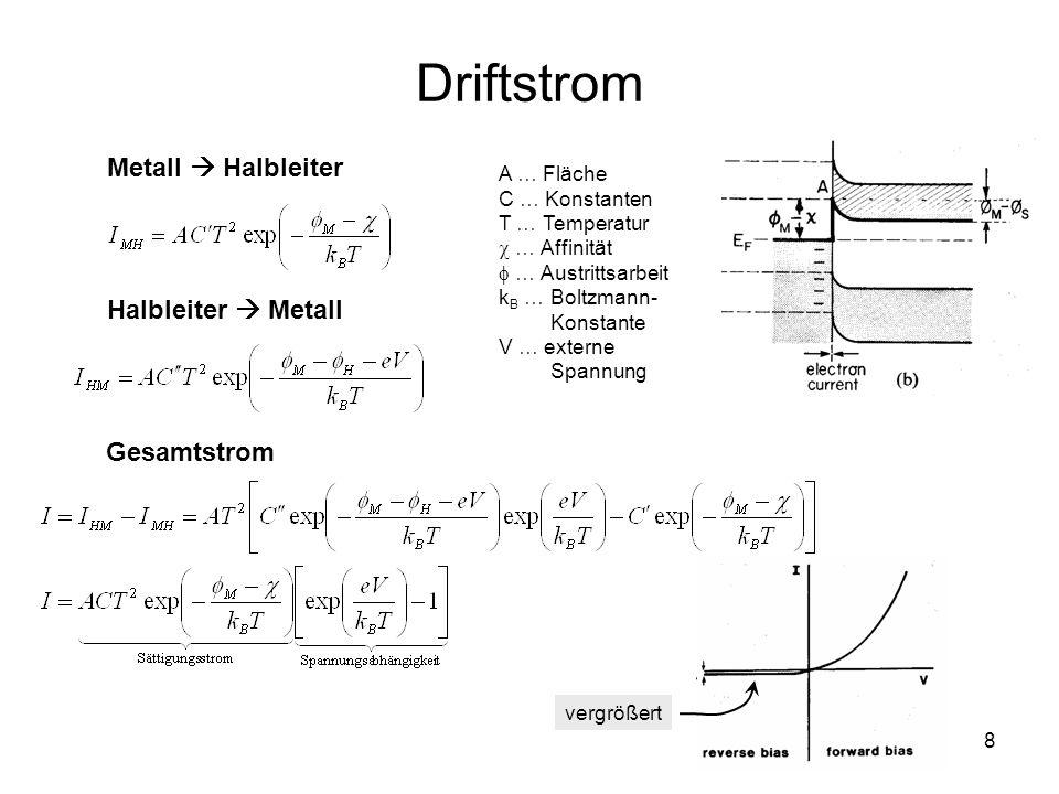 8 Driftstrom Metall Halbleiter A … Fläche C … Konstanten T … Temperatur … Affinität … Austrittsarbeit k B … Boltzmann- Konstante V … externe Spannung