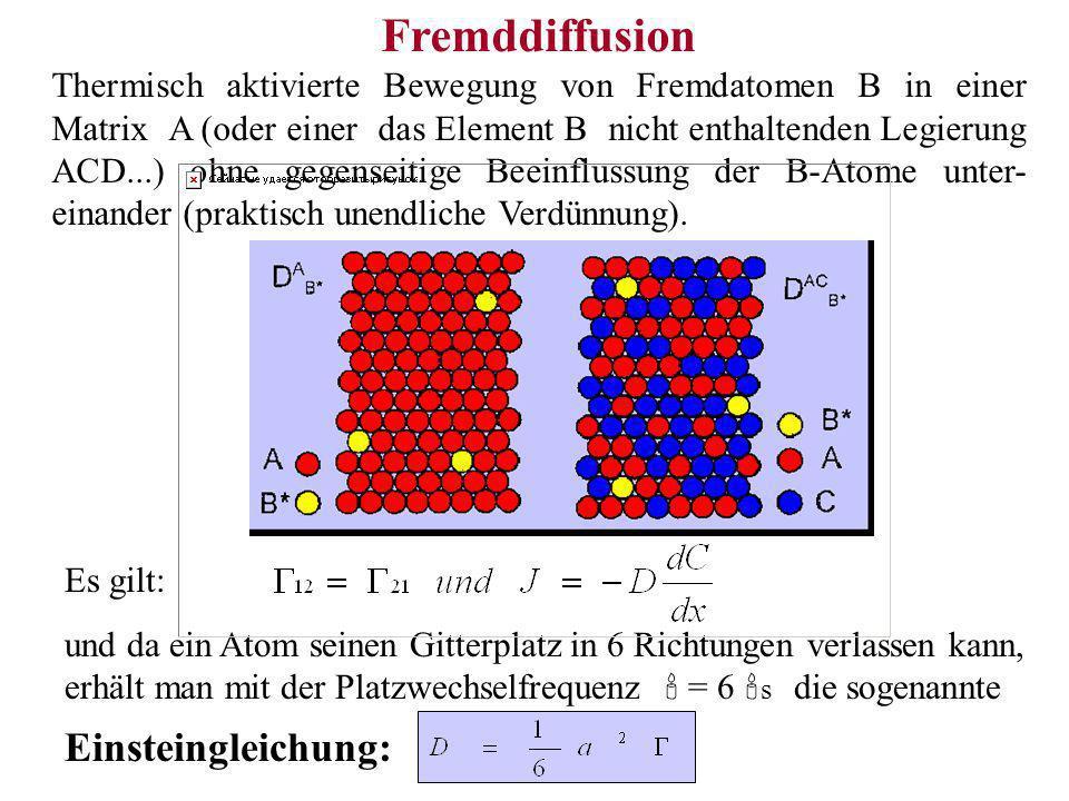 Fremddiffusion Thermisch aktivierte Bewegung von Fremdatomen B in einer Matrix A (oder einer das Element B nicht enthaltenden Legierung ACD...) ohne g