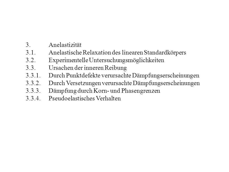 3.Anelastizität 3.1.Anelastische Relaxation des linearen Standardkörpers 3.2.Experimentelle Untersuchungsmöglichkeiten 3.3.Ursachen der inneren Reibun