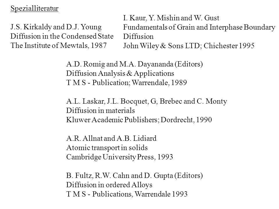 Datensammlungen Diffusion in Solid Metals and Alloys Landoldt-Börnstein, New Series; Group III, Vol.