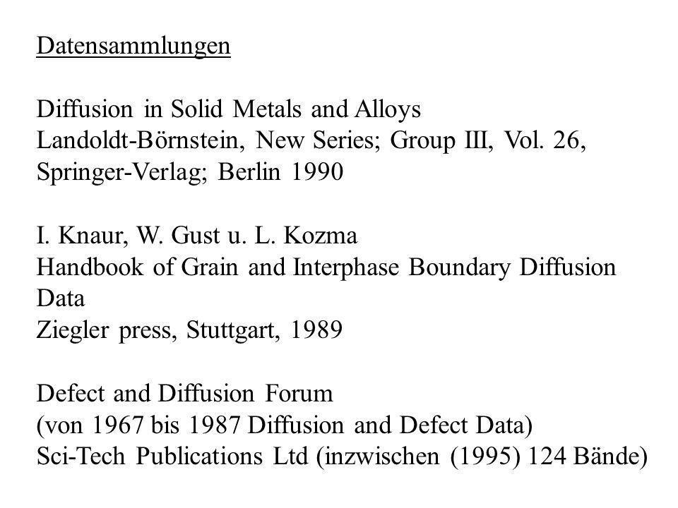 Datensammlungen Diffusion in Solid Metals and Alloys Landoldt-Börnstein, New Series; Group III, Vol. 26, Springer-Verlag; Berlin 1990 I. Knaur, W. Gus