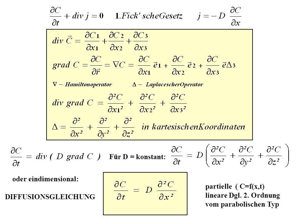 Für D = konstant: oder eindimensional: DIFFUSIONSGLEICHUNG partielle ( C=f(x,t) lineare Dgl.