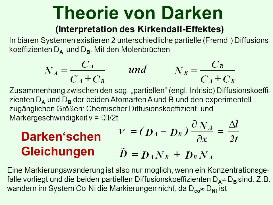 Theorie von Darken (Interpretation des Kirkendall-Effektes) In biären Systemen existieren 2 unterschiedliche partielle (Fremd-) Diffusions- koeffizienten D A und D B.