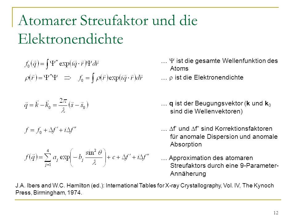 12 Atomarer Streufaktor und die Elektronendichte … ist die gesamte Wellenfunktion des Atoms … ist die Elektronendichte … q ist der Beugungsvektor (k u