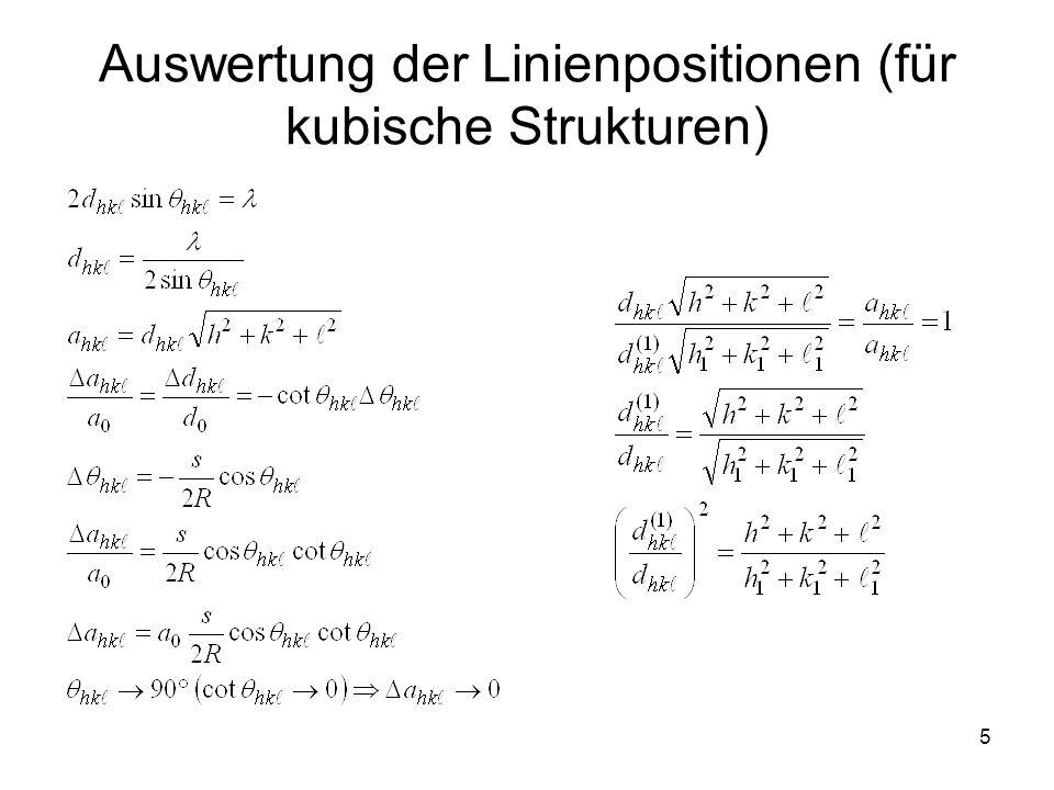 5 Auswertung der Linienpositionen (für kubische Strukturen)
