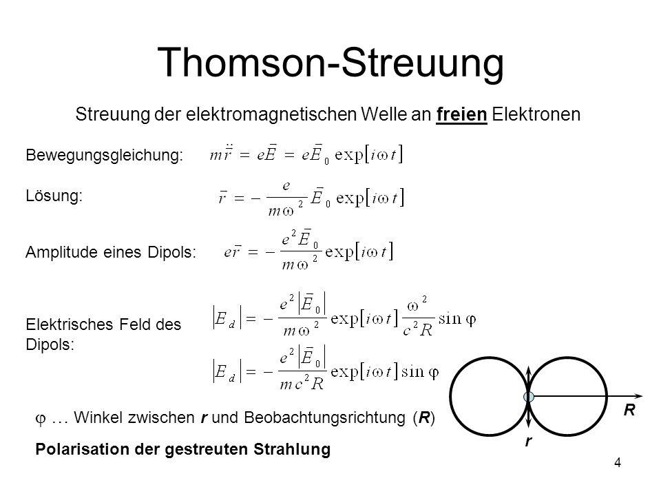 4 Thomson-Streuung Streuung der elektromagnetischen Welle an freien Elektronen Bewegungsgleichung: Lösung: Amplitude eines Dipols: Elektrisches Feld d