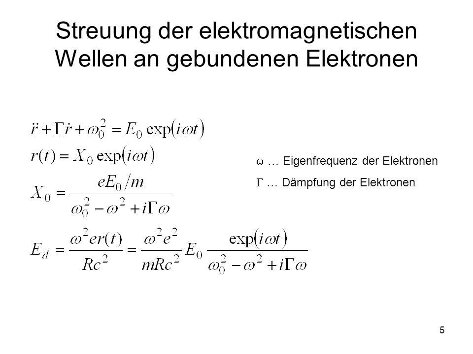 5 Streuung der elektromagnetischen Wellen an gebundenen Elektronen … Eigenfrequenz der Elektronen … Dämpfung der Elektronen