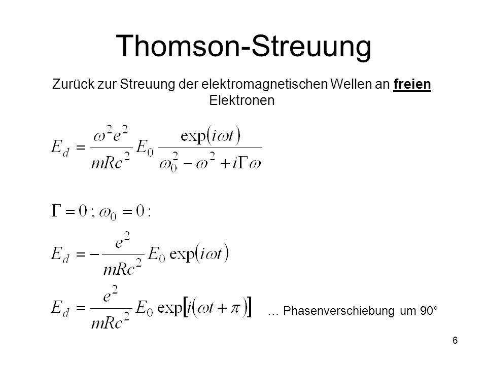 6 Thomson-Streuung Zurück zur Streuung der elektromagnetischen Wellen an freien Elektronen … Phasenverschiebung um 90°
