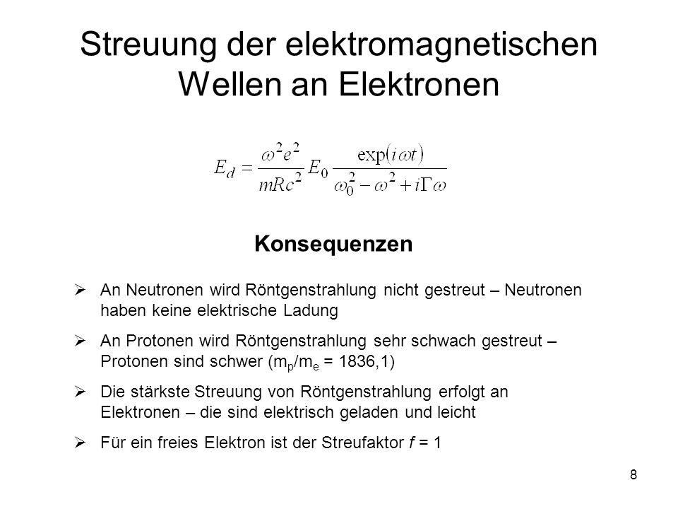 8 Streuung der elektromagnetischen Wellen an Elektronen Konsequenzen An Neutronen wird Röntgenstrahlung nicht gestreut – Neutronen haben keine elektri