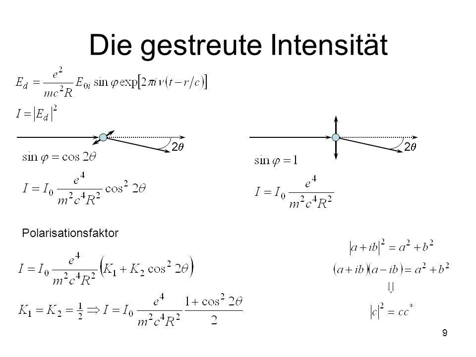 9 Die gestreute Intensität 2 2 Polarisationsfaktor