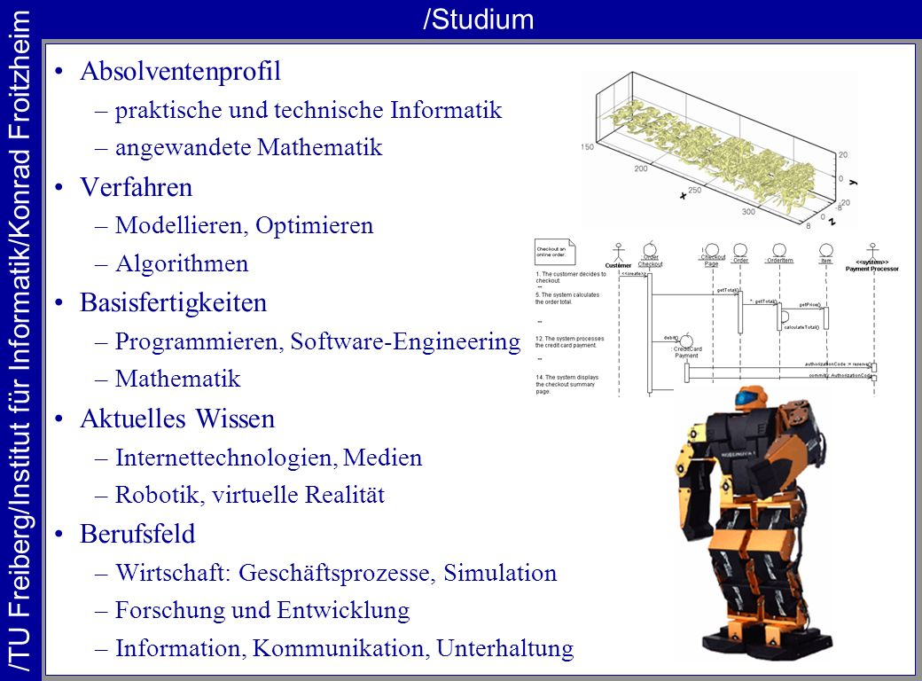 /TU Freiberg/Institut für Informatik/Konrad Froitzheim /Studium Absolventenprofil –praktische und technische Informatik –angewandete Mathematik Verfah