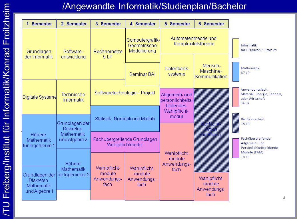 /TU Freiberg/Institut für Informatik/Konrad Froitzheim /Angewandte Informatik/Studienplan/Bachelor 4 1. Semester2. Semester3. Semester4. Semester5. Se