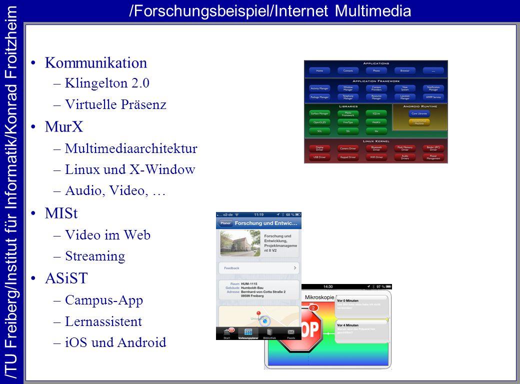 /TU Freiberg/Institut für Informatik/Konrad Froitzheim /Forschungsbeispiel/Internet Multimedia Kommunikation –Klingelton 2.0 –Virtuelle Präsenz MurX –