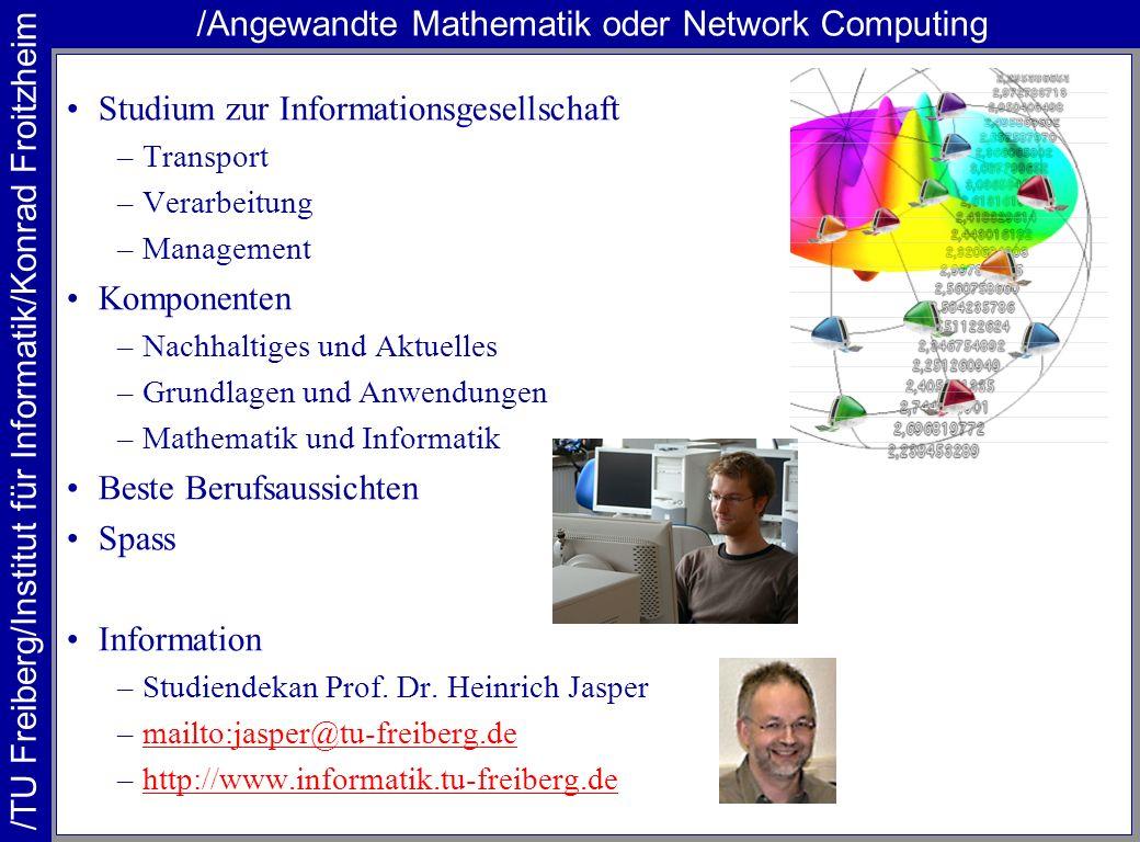 /TU Freiberg/Institut für Informatik/Konrad Froitzheim /Angewandte Mathematik oder Network Computing Studium zur Informationsgesellschaft –Transport –